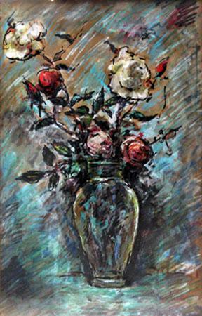 Quadro di Giuseppe Mazzon Vaso floreale - mista carta